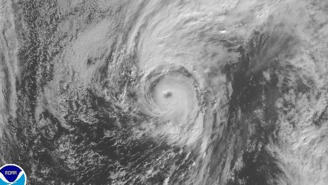 A satellite image taken Thursday morning shows a distinct eye of Hurricane Alex in the Atlantic Ocean.