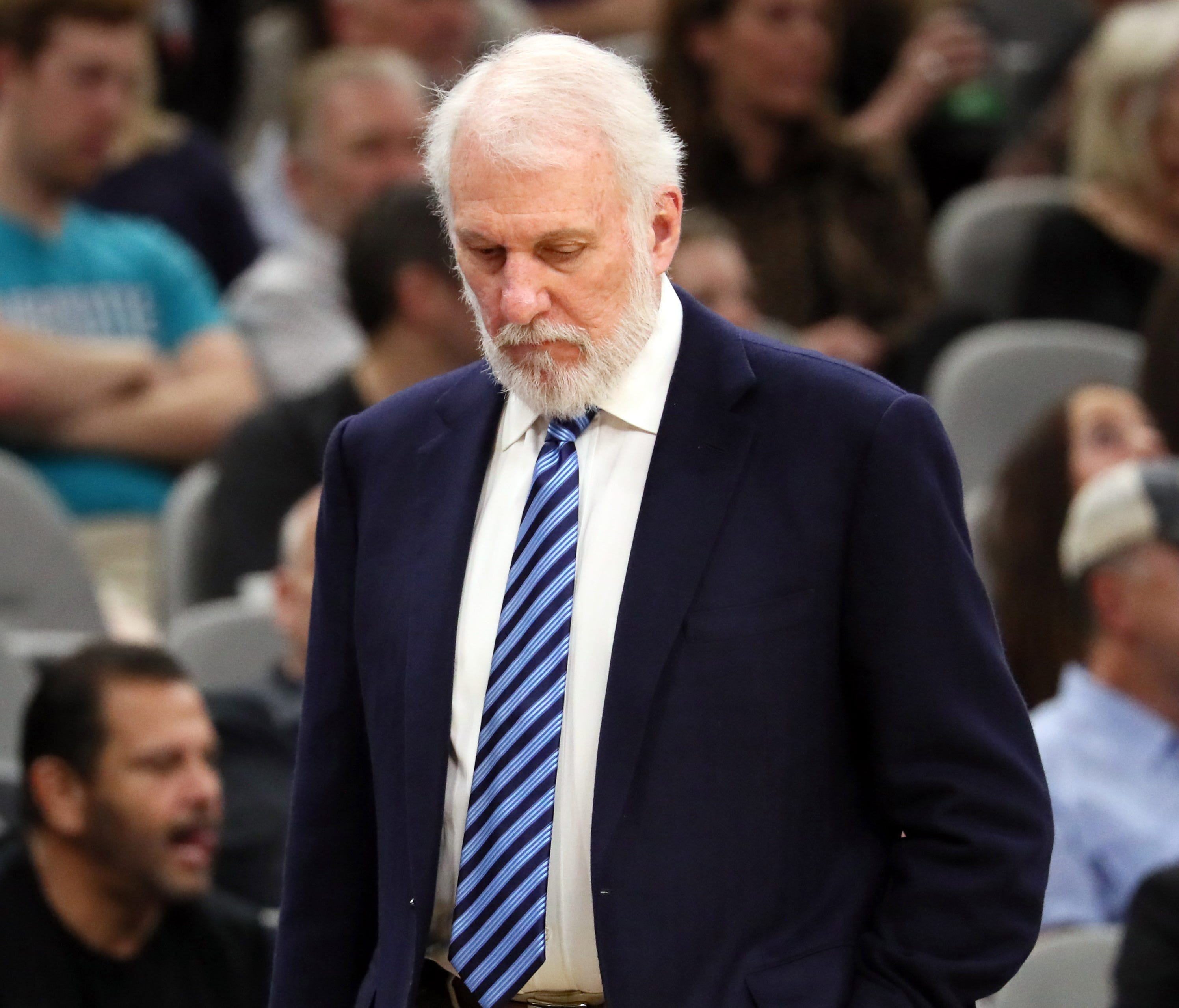 San Antonio Spurs head coach Gregg Popovich during the first half against the Memphis Grizzlies.