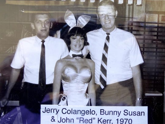 "A young Jerry Colangelo and then-Phoenix Suns coach Johnny ""Redd"" Kerr in 1970 ham it up with ""Bunny Susan."""