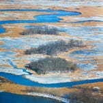 Aerial view of the aftermath of the 2016 winter storm over Delaware at 1,000 feet elevation around the Augustine Wildlife Area.