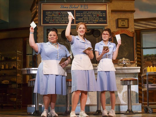 "Keala Settle (left to right), Jessie Mueller and Kimiko Glenn in ""Waitress."""