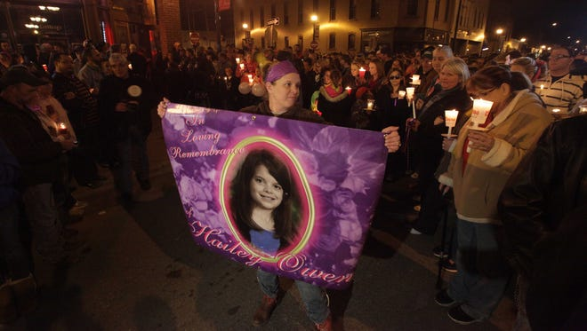 A crowd estimated by the city at 10,000 people turned out to honor Hailey Owens on Saturday night.