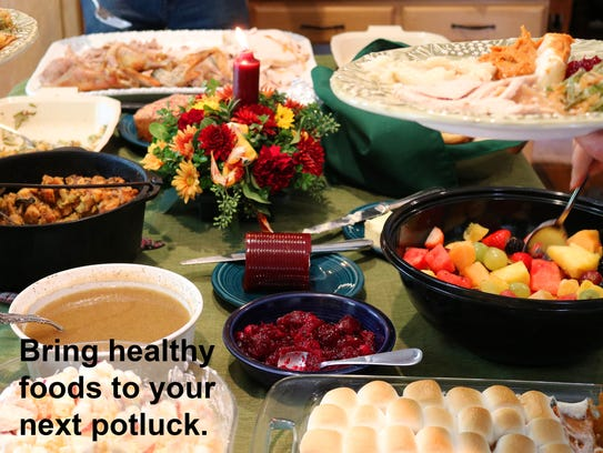Take a healthy food that you know you like to the potluck.