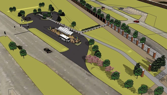 A contributed graphic from the city of Wichita Falls of how the area near the Sheppard Main Gate may look.