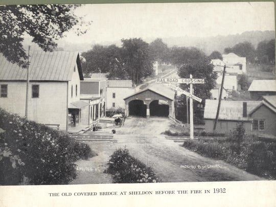 Bridge Street in Sheldon looking west in the 1800s. The historic photo of the covered bridge was taken before the fire in 1932.