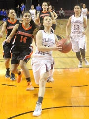 Shania Gililland attempts a layup Tuesday in the Class 3A quarterfinal game against Lordsburg.