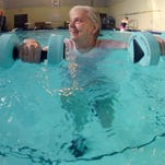 Water Aerobics Instructor Freda Mayton leads a water aerobics class geared towards seniors at the Salvation Army three times a week.