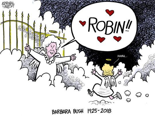 Barbara Bush will be buried near her daughter Robin,