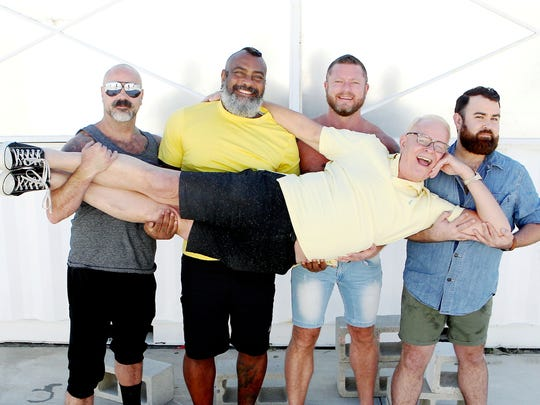 "The Coachella Valley residents appearing in the upcoming season of ""Where the Bears Are"" includes (left to right) Scotty ""Rage"" Ragland, Andre Chambers, Charlie Harding, Jacob Samples and Chuck Leachman (horizontal)."