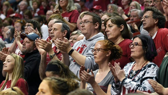 Fans cheer on IU during the game against TCU at Simon Skjodt Assembly Hall in Bloomington, Ind., on Wednesday, March 28, 2018.