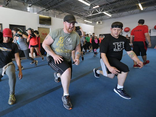 Kyle Patrick trains for the Mud Rush at Kai Malachi's gym in East El Paso. He's battling back after stepping on an IED in Iraq and shattering his leg.