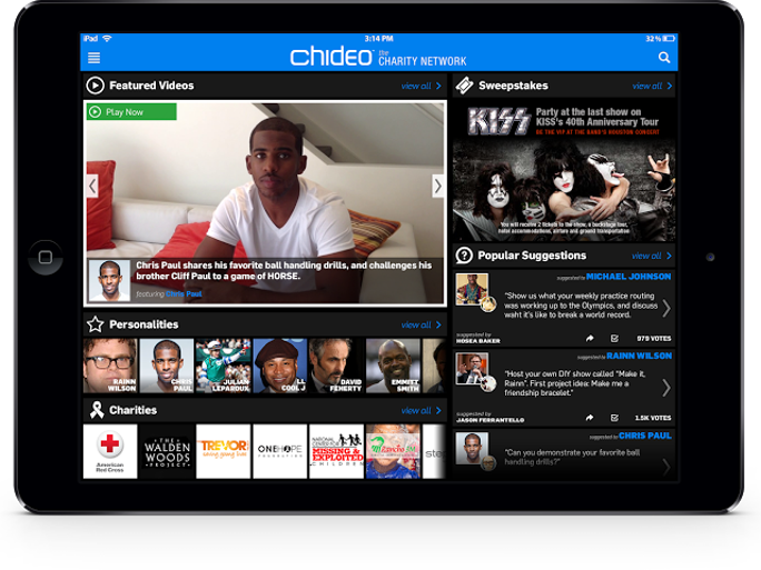 Chideo is an interactive site and mobile app for celebrities to promote and raise funds for their favorite charities through exclusive videos.