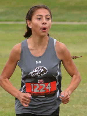 Garden City High School's Jocelyn Sosa extends her lead on her way to winning the sophomore girls large division 5K Sept. 10 during the Swather Special cross country meet at Hesston. Sosa was the top individual finisher for GCHS at Hays on Thursday with a second-place finish.