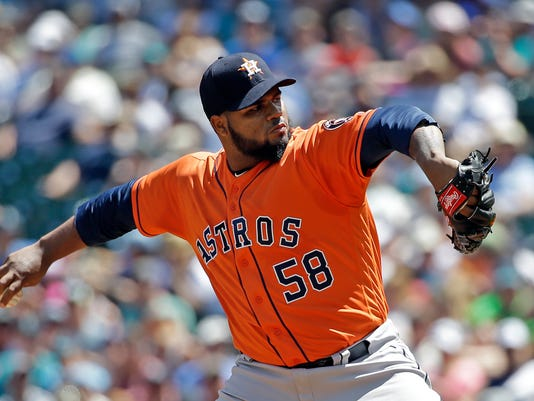 Houston Astros starting pitcher Francis Martes throws against the Seattle Mariners in the first inning of a baseball game Sunday, June 25, 2017, in Seattle. (AP Photo/Elaine Thompson)