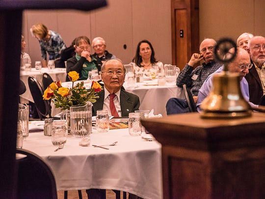 John Matsushima sits with fellow Rotary Club members during a meeting Wednesday, Feb. 15, 2017, where he was honored for his years of service and perfect attendance.