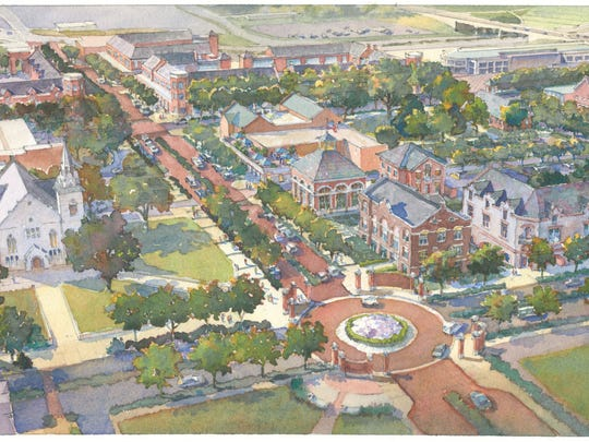 A rendering of the Central Street Historical Corridor proposed by Drury University to tell the story of Springfield and its role in the Civil War and the Civil Rights movement.