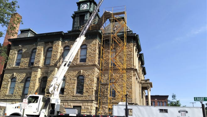 Workers from Midstate Contractors have begun work on the Holmes County Courthouse clock tower repair. The project is expected to be finished before winter.