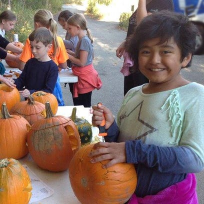 A group of children carve pumpkins for the jack-o'-lantern-lit trails of Halloween Haunts at Wehr Nature Center
