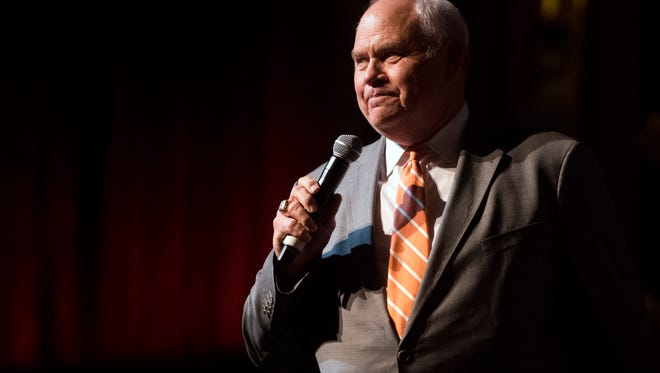 University of Tennesee athletic director Phillip Fulmer greets the crowd during a Signing Day celebration at the Tennessee Theatre on Wednesday, February 7, 2018.