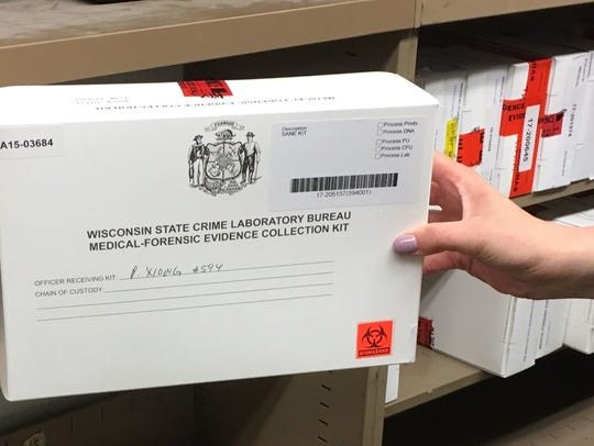 A close-up view of a rape kit, which is marked with