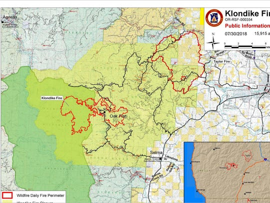 Klondike Fire map as of July 30.