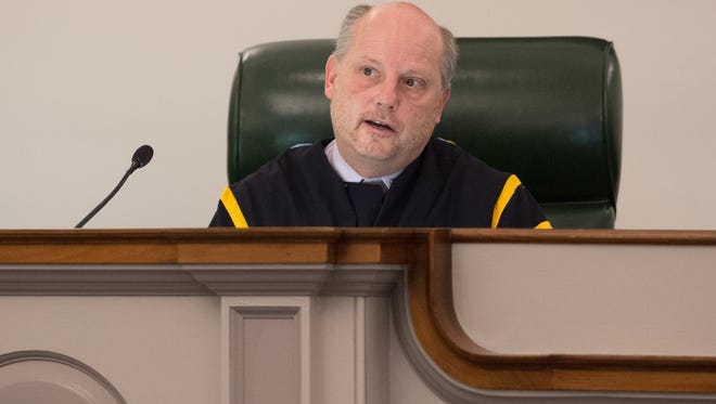 Chief Justice Leo E. Strine, Jr., asks questions during the oral arguments in the case of D. Powell vs. State at the Delaware Supreme Court in Dover.