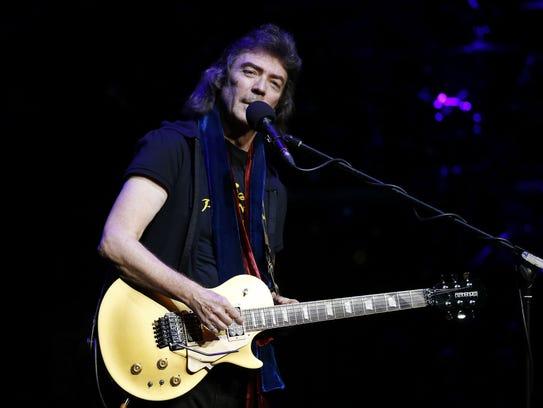British guitarist Steve Hackett performs on stage on