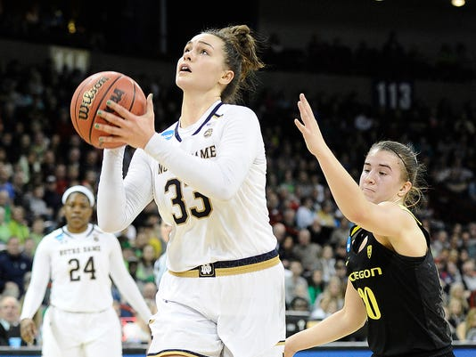 NCAA Womens Basketball: NCAA Tournament-Spokane Regional-Oregon Ducks vs Notre Dame Fighting Irish