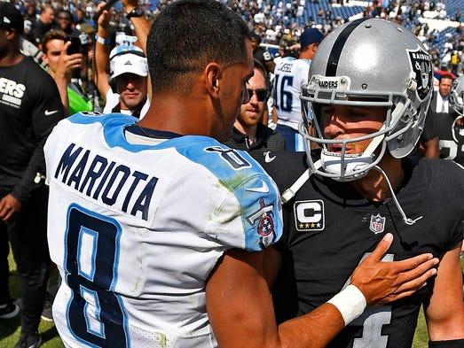 Tennessee Titans quarterback Marcus Mariota (8) and
