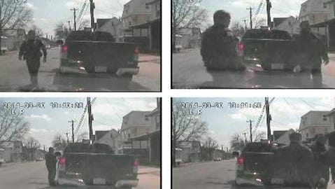 These still images, taken from a camera in a Millville police cruiser, show a March 20 traffic stop involving City Commissioner David Ennis. The images on the right show Officer William Stadnick ordering Ennis to get back into his truck.