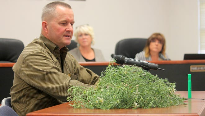 In this 2016 file photo, Sid Gordon with the Otero County Extension Office  discussed how to eliminate African Rue weeds to County Commissioners.