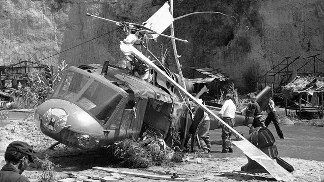 """Actor Vic Morrow and two children were killed in 1982 in a crash during the filming of the movie """"The Twilight Zone"""" in Santa Clarita, Calif. The accident shook the film industry and led to new safety standards for the use of helicopters."""