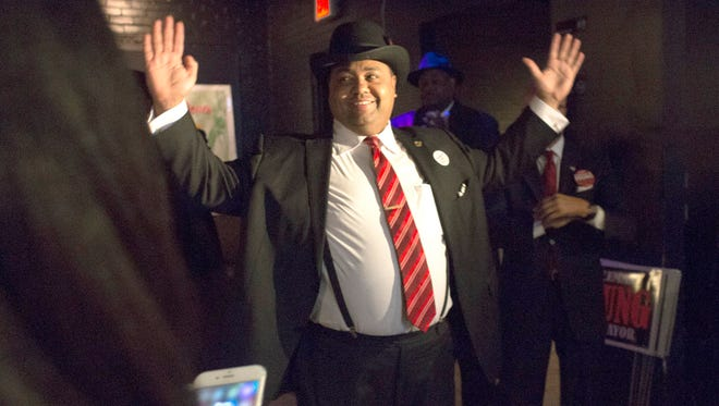 Mayoral candidate Coleman A. Young II arrives to Southern Fire Bistro & Lounge and greets his supporters at his election night party on Tuesday, Nov. 7, 2017 in Detroit.