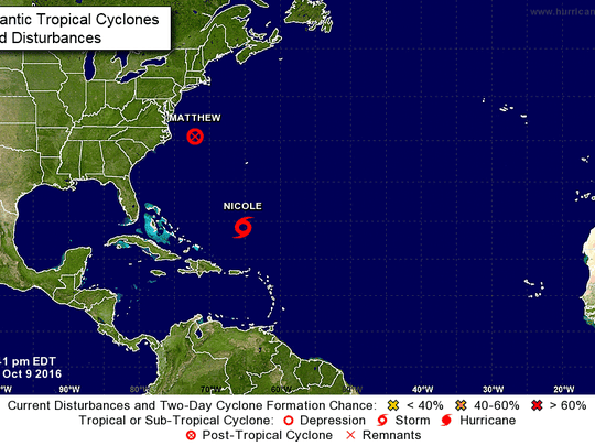5 p.m. update of post-tropical cyclone Matthew and Tropical Storm Nicole.