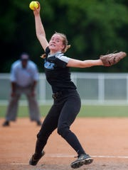 Montgomery Catholic's Michaelyn Foster pitches during the AHSAA Softball State Championship Tournament at Lagoon Park in Montgomery, Ala., on Wednesday May 18, 2016.
