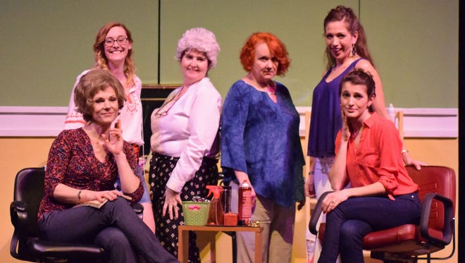 "Starring in the Endicott Performing Arts Center production of ""Steel Magnolias"" are, from left, Jean Graham, Melanie Norton, Paula Bacorn, Julia Mahar, Francesca Decker and Talia Saraceno."