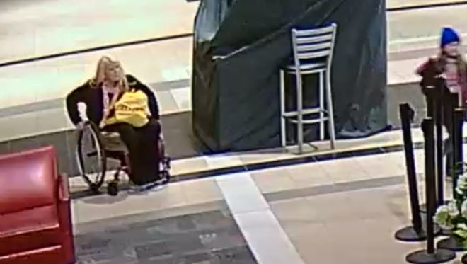 The Greenville Police Department is seeking a woman in a wheelchair in connection to a burglary at Haywood Mall Monday night.