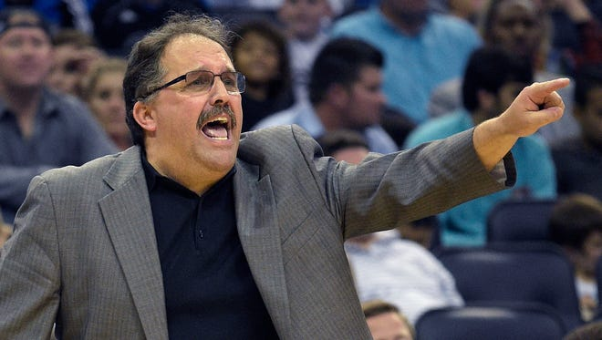Detroit Pistons coach Stan Van Gundy calls out instructions during the second half of the Pistons' NBA basketball game against Orlando Magic in Orlando, Fla., Tuesday, Dec. 30, 2014. The Pistons won 109-86.