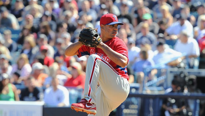 TAMPA, FL - MARCH 1: Miguel Alfredo Gonzalez #75 of the Philadelphia Phillies pitches during a spring training game at George M. Steinbrenner Field on March 1, 2014 in Tampa, Florida. (Scott Iskowitz/ Getty Images)