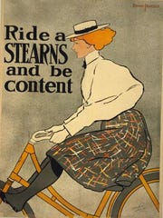 """""""Ride a Stearns and be Content,"""" J. Ottmann Lith. Co., Puck Building, New York."""