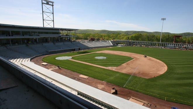 Construction in Ramapo of the stadium used by Rockland Boulders in May 2011.