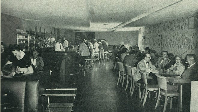 Dines Restaurant in downtown Lansing was owned by George and Nevenka Dines. This is the cocktail lounge of the Dines Terrace Room. Photo taken in 1954.