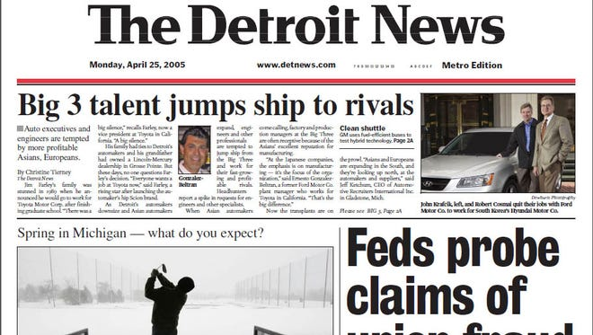 Detroit News pages for the week of April 25, 2005