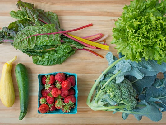 Clockwise, from top left: Swiss/rainbow chard, lettuce, broccoli, strawberries, zucchini and yellow squash. Photo by Jeff Lautenberger.