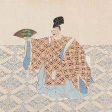 Kamisaka Sekka. Scene from Okina. Woodblock print. Part of the exhibit 'Quiet Rage, Gentle Wail' at Phoenix Art Museum.
