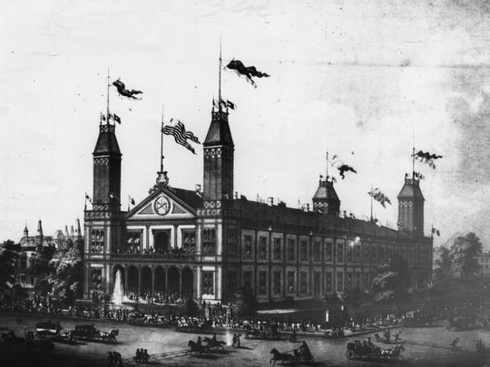Saengerfest Halle, also known as Exposition Hall, was proven an inadequate venue for the May Festival during a storm in 1875.
