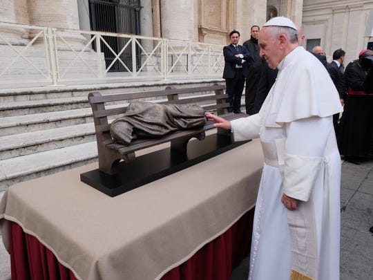 """Sculptor Timothy Schmalz, gave a model of the """"Homeless Jesus"""" statue to Pope Francis at the Vatican last year."""