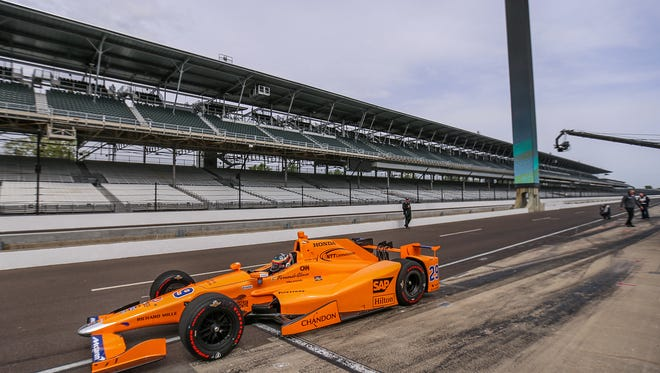 Fernando Alonso, a Formula One two-time champion and three-time runner up, takes off from the pits at Indianapolis Motor Speedway, Wednesday, May 3, 2017. Alonso will compete in the 101st running of the Indianapolis 500, driving for Andretti Autosport. Alonso is the ninth driver to enter the Indy 500 with a world championship under his belt.