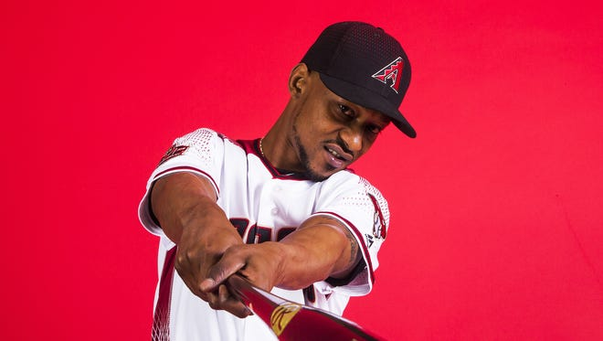 New Diamondbacks outfielder Jarrod Dyson poses on picture day at Salt River Fields, Tuesday, February 20, 2018.