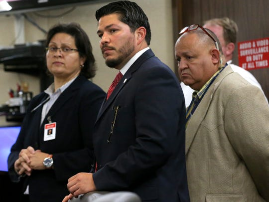 Nueces County District Attorney Mark Gonzalez attends the court hearing for Arturo Garza who is accused of beating to death his pregnant girlfriend in 2015, on March 7, 2017, at the 319th District Court in Corpus Christi.